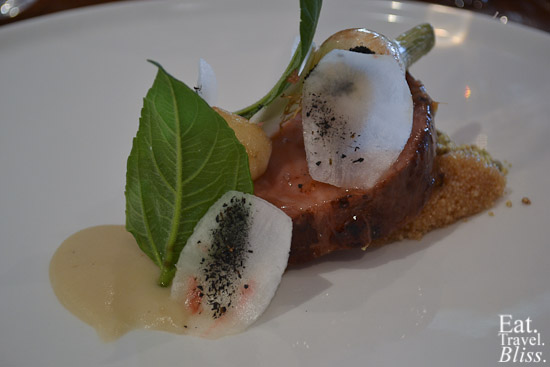 wild boar neck - jerusalem artichoke - amaranth - onions