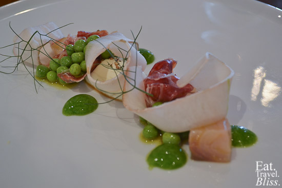 smoked kingfish ham - cabbage juices - paleta - peas and shoots