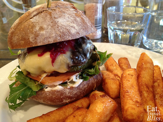 Collective beef burger - with beetroot marmalade, tasty cheese, fresh tomato, onion, with thick cut chips