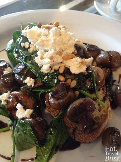 Wild mushroom bruschetta - with balsamic reduction, fetta cheese, pine nuts on rye toast