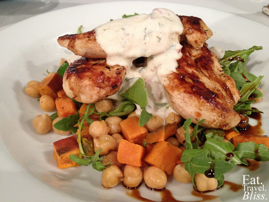 Moroccan chicken salad - with chickpeas, pistachio, sweet potato, snow peas, and minted yoghurt
