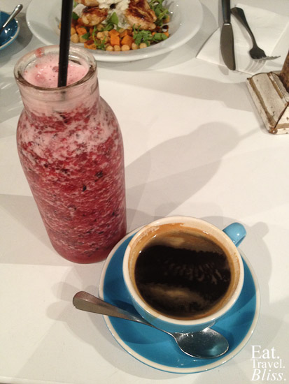 Berry smoothie (huge) and coffee