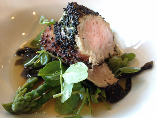 Herb crusted albacore tuna, asparagus, snow pea salad, seaweed consommé