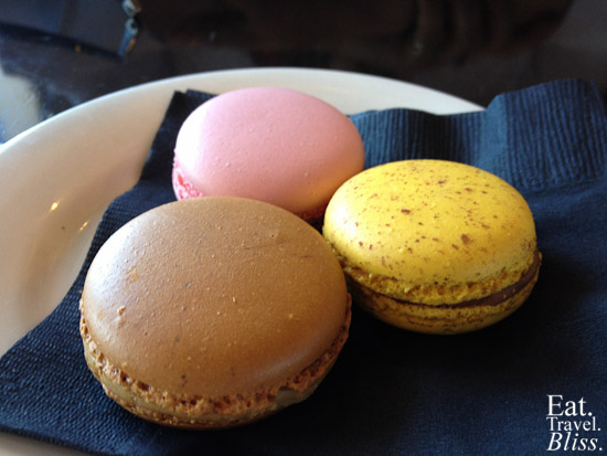 Macarons: salted caramel, strawberry, and passionfruit