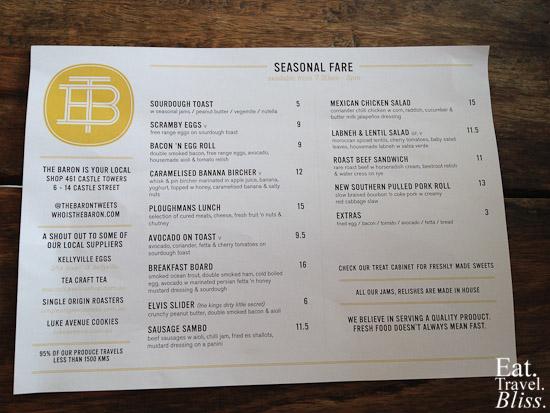 The Baron - menu