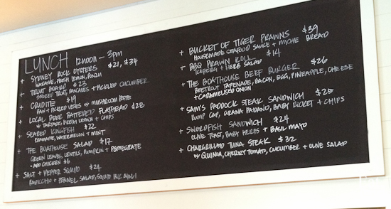 Balmoral Boatshed - lunch menu